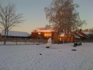 Staunton Montessori Nursery School in snow