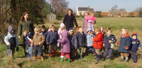 Pre-school children on a nature walk near Staunton Montessori Nursery School in Nottinghamshire