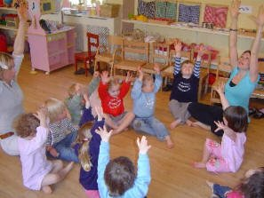 Two year olds learning dance and movement