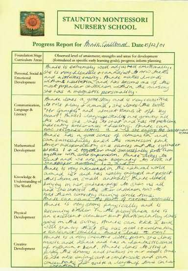 example of a nursery school report staunton montessori nursery school