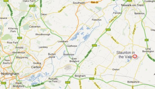 Map of Staunton Montessori School in Nottinghamshire UK